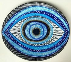 Decorative Plate Evil Eye Plate Original by biancafreitasClick the link now to find the center in you with our amazing selections of items ranging from yoga apparel to meditation space decor! Eye Painting, Stone Painting, Evil Eye Art, Creepy Eyes, Art Pierre, Rock And Pebbles, Heart Art, Art Plastique, Stone Art