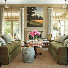 nice light khaki wall color to go with olive green sofas this is the color - Nice Wall Colors For Living Room