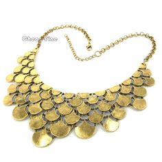 1PCS Vintage Gold Golden Choker Bib Link Statement Necklace US $10.99