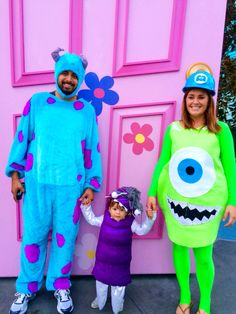 Our family's halloween costumes! Mike Wazowski, Sully and Boo from Monsters Inc.