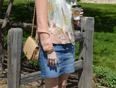 Style in a Small Town | A Denim Skirt   Floral Print Scarf | http://www.styleinasmalltown.com http://pashminaperfection.com/products/pleased-to-meet-you