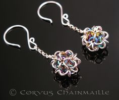 Japanese Ball earrings    Niobium and sterling silver