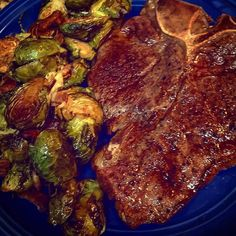 Sous vide porterhouse and balsamic roasted Brussels sprouts with bacon and parm. Thanks for the sprout recipe Heidi. #porterhouse #brusselssprouts #steak #foodporn #searzall #sousvide by jeffcronin_