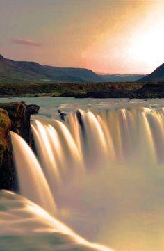 Godafoss waterfall in sunrise near Akureyri, Iceland
