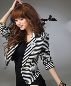 Shop our best value Navy Blazer Women on AliExpress. Check out more Navy Blazer Women items in Women's Clothing, Men's Clothing! And don't miss out on limited deals on Navy Blazer Women! Blazer E Short, Blazer And Shorts, Striped Blazer, Striped Jacket, Blazer Suit, Suit Jacket, Blazers For Women, Jackets For Women, Clothes For Women
