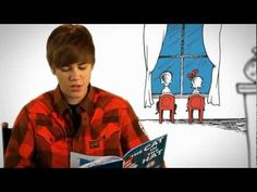 Justin Bieber Reads The Cat in the Hat... I know a few little girls who will eat this up!
