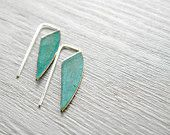 Geometric Verdigris Earrings, Long - brass and sterling silver dangle earrings, verdigris patina, Etsy