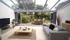 conservatory with bi-folding doors