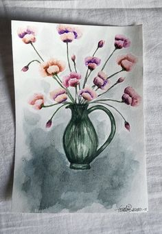 Flowers in a green glassvase painted in aquarelle