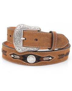 Between each concho is leather lace details creating more chevron stripes. Concho Belt, Belt Buckles, Leather And Lace, Brown Leather, Ring Bracelet, Bracelets, Western Belts, Lace Detail, Westerns