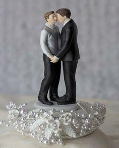 Rose Pearl Gay Wedding Cake Topper http://discountweddingcaketoppers.com/rose-pearl-gay-wedding-cake-topper.html