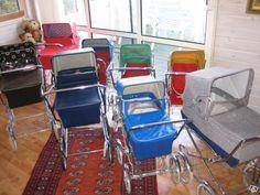 Vintage baby carriage / stroller / pram traffice jam.