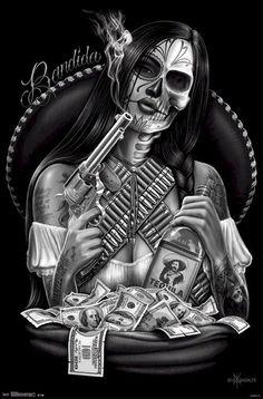 DAVID GONZALEZ ART POSTER ~ BANDIDA 22x34 Bandit Skull Tequila Latina #ArtNouveau