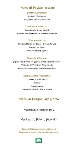 Menù di Pasqua 2017 da Ristorante Pizzeria Da Michele a Marina di Pietrasanta