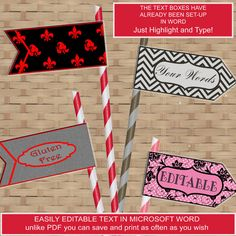 Printable PARTY FLAGS 6 different designs cupcake by arttoart, $3.25
