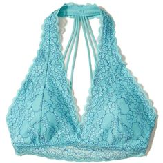 Hollister Strappy Lace Halter Bralette With Removable Pads (21 CAD) ❤ liked on Polyvore featuring intimates, bras, turquoise pattern, lace halter bra, wireless bras, lace halter top, lacy bras and halter neck bra