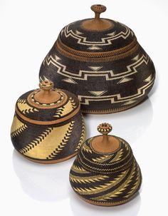 Elizabeth Hickox (Wiyot/Karuk, 1875–1947), lidded baskets  ca. 1920  California  Maidenhair fern, spruce root, hazel shoots, porcupine quills