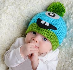 baby boy gift, Crochet Halloween Monster Hat: Blue, Size 3-6 months. $24.00, via Etsy.