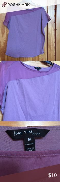 Purple Boutique Top Brought on a New York trip and never worn. Super soft purple top with sheer paneling around the neckline. joan vass Tops Blouses