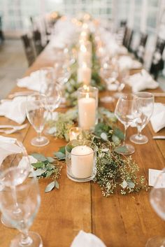 rustic candles and seeded eucalyptus wedding centerpiece 16 wedding centerpieces 20 Simple and Chic Wedding Candle Centerpieces Romantic Wedding Centerpieces, Wedding Table Settings, Wedding Table Centerpieces, Wedding Decorations, Wedding Ideas, Rectangle Table Centerpieces, Rectangle Wedding Tables, Rustic Candle Centerpieces, Eucalyptus Centerpiece