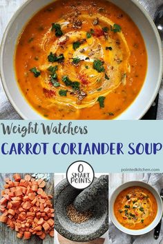 are looking for a low point lunch, you can't go wrong with this Carrot & Coriander Soup. At 0 Smart Points per bowl on Weight Watchers Freestyle Flex plan it will be a soup recipe that you make again and again. Weight Watchers Carrot Recipe, Weight Watchers Pasta, Weight Watchers Vegetarian, Weight Watchers Casserole, Weight Watchers Lunches, Weight Watcher Dinners, Weight Watchers Desserts, Soup Recipes, Diet Recipes