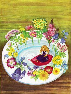 'Thumbelina' Pestaalozzi Publishing, Germany Illustration by Felicitas Kuhn Peter Pan Disney, Magical Creatures, Illustrations And Posters, Children's Book Illustration, Whimsical Art, Pretty Art, Vintage Children, Amazing Art, Retro
