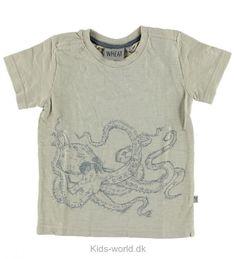 Wheat T-shirt - Sand m. Blæksprutte - Børnetøj med fri fragt.