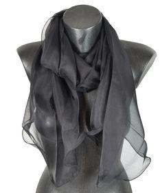 577e375e1bb Foulard soie bords ondulés gris