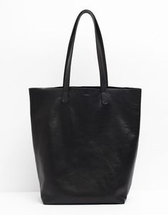 Baggu Basic Leather Tote in Black