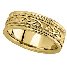Hand Made Celtic #Wedding Band in 14k Yellow #Gold (6mm) Expires: Ongoing Promotion list price: $1960.00  sale price: $990.00  http://www.offers.hub4deals.com/store-coupons?s=Allurez