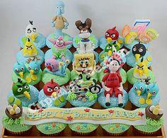 angry birds & spongebob cupcakes