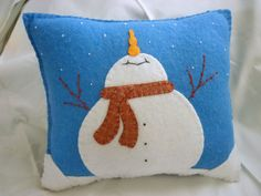 Felt Snowman Pillow - Catching Snowflakes