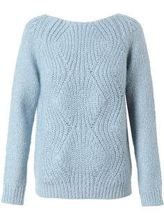 Ice blue mohair-wool zig-zag ribbed sweater from Surface to Air. Scoop neck. Long sleeves. Unlined. Very soft. Machine wash cold.