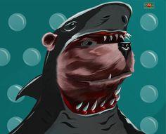 Bear in a Shark Outfit, Moe Murdock on ArtStation at https://www.artstation.com/artwork/bear-in-a-shark-outfit