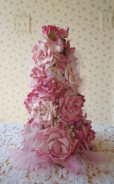 Shabby Pink Rose Tree - Cottage Sweet with Pearls and Tulle - This lovely table top tree is made from pink paper roses, bits of pink tulle and creamy faux pearls. For the girly girl in all of us! Shabby Chic Christmas, Victorian Christmas, Pink Christmas, Christmas Crafts, Christmas Decorations, Christmas 2017, Christmas Ideas, Rose Cottage, Shabby Chic Cottage