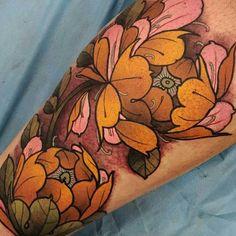 Peonies all done! #tattoo #tattoos #tattooworkers #tattoosnob…