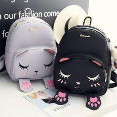 Gray and Black Cute Kitty Cat School Backpack Bag HF00086