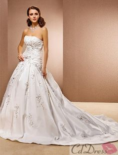 Ball Gown Sleeveless Chapel Train Taffeta and Lace Wedding Dress from CDdress.com