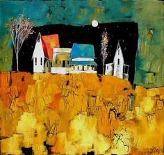 Artwork of Glendine exhibited at Robertson Art Gallery. Original art of more than 60 top South African Artists - Since Kitsch, Landscape Artwork, Abstract Landscape, South African Art, African Artists, Fantasy Paintings, Encaustic Art, Pastel, Naive Art