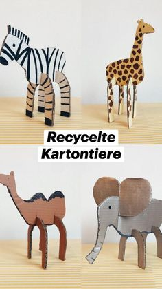 Cute Crafts, Diy Crafts For Kids, Projects For Kids, Easy Crafts, Cardboard Animals, Cardboard Crafts, Rainy Day Activities, Art Activities For Kids, Classroom Crafts