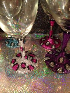 Glitter leopard print wine or martini glass by GlitzyGlitterGal, $10.00