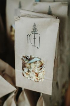 popcorn in paper bags; perfect for snacking in the woods or for guests to take home
