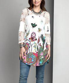 362e87f5d10be White Paisley Lace-Panel Tunic - Plus Plus Size Beauty, Beautiful Outfits,  Beautiful