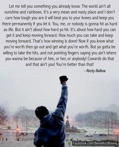 I can't seem to make enough time for Rocky movies in my life right now. I need Rocky movies right now. They are helpful. Rocky Quotes, Rocky Balboa Quotes, Inspirational Speeches, Inspirational Posters, Quote Posters, Quote Prints, Happy Sunday, Sylvester Stallone Quotes, Favorite Quotes