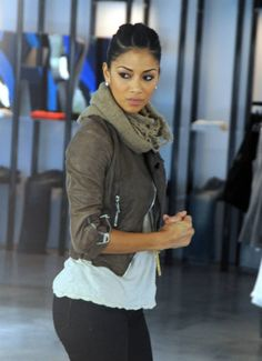 Obsessed with jacket and scarf//Nicole Scherzinger