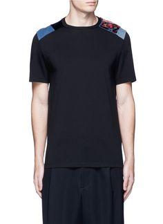 MAISON MARGIELA Velvet And Denim Patchwork T-Shirt. #maisonmargiela #cloth #t-shirt