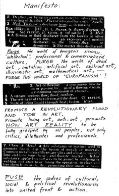 Fluxus Manifesto, George Maciunas, 1963  Jonas Mekas was associated with Fluxus, conceived by fellow Lithuanian immigrant George Maciunas.  via Roberto Greco