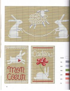 pretty whimsical easter rabbit embroidery patterns Lapins