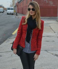 red tweed jacket and leather pants