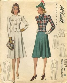 McCall 3557 Suit pattern 1940's - love this classic style